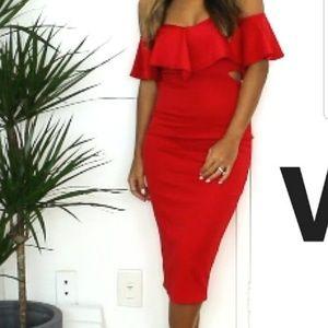 Brand new boohoo red bodycon dress